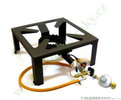 Vařič plynový 1-hořákový 7 kW MEVA MEGA ZEUS, POJISTKA+PIEZO nízkotlaký 2102TP-Jednohořákový vařič na propan-butan určený pro velkokapacitní ohřev s pojistkou STOP GAS a PIEZOZAPALOVÁNÍM