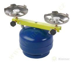 Vařič plynový 2-hořákový MEVA TÁBORÁK přímotlaký 2137-Dvouhořákový vařič ( campingový vařič ) na propan-butan, barva BÍLÁ