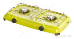 Vařič plynový 2-hořákový MEVA ORLÍK - bez víka+term.poj., nízkotlaký 2316B-Dvouhořákový stolní vařič ( campingový vařič ) na propan-butan s hořáky se STOP GAS ( v případě zhasnutí hořáku zastaví přívod plynu do hořáku )