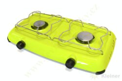 Vařič plynový 2-hořákový MEVA ORLÍK - bez víka, nízkotlaký 2317B-Dvouhořákový stolní vařič ( campingový vařič ) na propan-butan, barva BÍLÁ